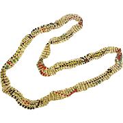 BG149 Art Deco Native American Themed Flapper Woven Glass 7 Strand Seed Bead Necklace Vintage