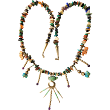 Vintage Native American Indian Precious Stones Turquoise Amethyst Fetish Sterling Silver Necklace Southwest