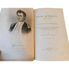 1875 History of Warwick Rhode Island 1642 settlement & development Oliver Fuller Antique Victorian Book