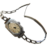 BG495 Art Deco Roaring 1924 Bulova Ladies Wristwatch Watch Chased Bezel Perhaps White Gold Fill
