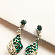 BG114 Rhinestone Crystal Emerald & Ice Diamond Art Deco Drop Dangle Clip Earrings Vintage