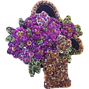BG191 Art Deco Basket of Flowers Hand Sewn Beaded Sequin Glass 4inch Embroidered Wool Felt Brooch Pin Vintage