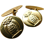 Vintage Wise  Old Owl Cufflinks or Button Studs Set