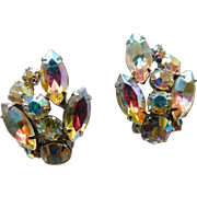 Vintage Weiss Aurora Borealis AB Flashy Crystal Clip On Earrings 1.25inches