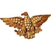 WW1 Edwardian Patriotic Sweetheart Imperial Eagle Rhinestone Early Plastic Pin Brooch World War I