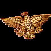 WW1 Edwardian Patriotic Sweetheart Imperial Eagle Rhinestone Early Plastic Pin Brooch World War I