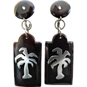 Art Deco Silver Pique Brown Shell Long Dangle Drop Earrings Screwbacks Palm Trees Vintage