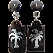 Art Deco Silver Pique Brown Shell Long Dangle Drop Earrings Screwbacks Palm Trees Vintage