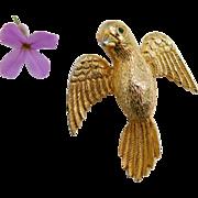 Vintage Castlecliff Bird in Flight Brooch Pin with Emerald Crystal Rhinestone Eyes