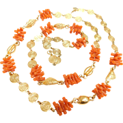 Vintage Trifari  Faux Branch Coral & Sea Shell Gold Plated Necklace 36 Inch