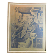 """Edwardian President Theodore Roosevelt Sepia Print Lithograph Teddy 12""""x9.5"""" with paper matte"""