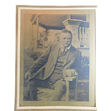 """Edwardian President Theodore Roosevelt Sepia Print Lithograph Teddy 12""""x9.5"""" with matte"""