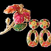 Jose Maria Barrera For Avon Tropical Hibiscus Bright Enamel Crystal Runway Brooch Pin & Earrings Clip Ons Set Pendants Detach