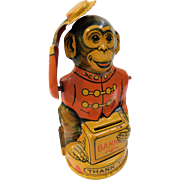 Art Deco Chein Mechanical Monkey Lithographed Tin Bank Tips Hat With Coin