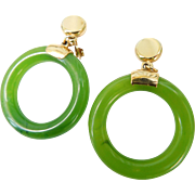 Vintage Crown Trifari Faux Jade & Gold Hoop Dangle Earrings Clip Ons
