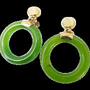 Vintage Crown Trifari Faux Jade & Gold Hoop Dangle Earrings Clip Ons