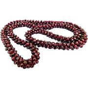 "Woven Bead Strand of Genuine Polished Garnets Reds to Purples 26"" Necklace"