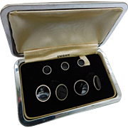 Art Deco Swank Boxed Gold Plated Cuff Links Button Studs Black Celluloid B & W Tuxedo Set