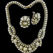Vintage Judith McCann White Milk Glass & Ice Crystal Rhinestone Necklace Choker Wingback Earrings Set Demi Parure