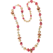 Cranberry Swirled Art Glass Necklace Faux Pearls Pink Rondelles Facetted Crystals 31Inches