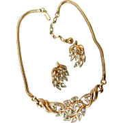 Alfred Philippe Crown Trifari 1950s Patent Pending Necklace and Earrings Demi Parure Set Ice Clear Crystals