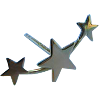 Fun Trio of Stars 585 Stamped 14K Yellow Gold Single Post Pierced Earring Stud