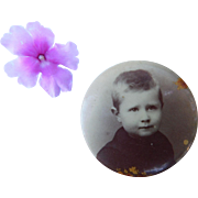 Adorable Little Boy Antique Photograph Button Pin Celluloid Photo Brooch