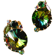 Vintage 1960s Juliana D&E Book Piece Rhinestone Crystal Volcano Rivoli Clip On Earrings Greens with Aurora Borealis