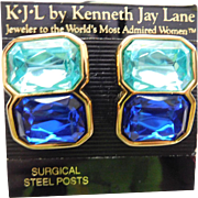 Kenneth Jay Lane KJL Topaz Blue And Sapphire Blue Crystal Earrings Gleaming Gold Tone Chunky Pierced Post