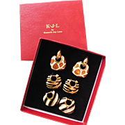 Fantastic Animal Print Safari Kenneth Jay Lane Interchangeable Hoop Earrings KJL in Box Giraffe Zebra and Tiger Enamel Clip On