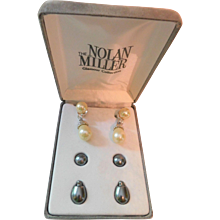 Night And Day Faux Creamy Pearl and Tahitian Blue Gray Pearl Nolan Miller Earrings Boxed Interchangeable Set Crystals Drops Pierced Post