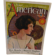 August 1924 American Magazine 177 pages Complete Art Deco Advertising Lithograph Cover Art Flapper Lady By Charles Anderson Rex Beach Stories Anne Nichols Play Ads