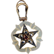 BG283 Victorian Carved Mother of Pearl Shell Star Ruby Marcasite Gold Gilt Silver Watch Fob Slide Pendant Antique
