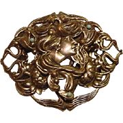 Antique Edwardian to Art Nouveau Lady Lotus Blossom Repousse Belt Buckle Slide Faux Turquoise Gilt Silver Plated 3.75inch