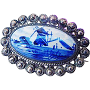 BG216 Vintage Hand Painted DELFT Blue & White Cannetille Sterling Silver Brooch Pin Pastoral Scene