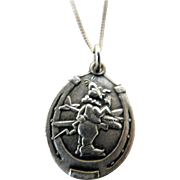 World War II Army Air & Royal Air Airplane Flyers Pilots Gremlin Horseshoe Good Luck Sterling Pendant & Chain Necklace WW2