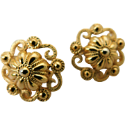 Crown Trifari Gold Clip Ons Etruscan Domed Earrings