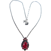 Swarovski Swan Hang tag Logo Signed Necklace Pendant Ruby Red with Black Diamond Crystals