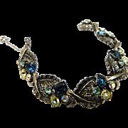 Signed Coro Vintage Rhinestone Crystal Bracelet AB Aurora Borealis Sapphire Blue Jonquil & Baby Blue