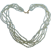 Vintage Genuine Potato Pearl Necklace Choker 6 Strands 19 inches