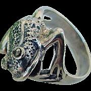BG208 Vintage 3D Frog Marcasite Sterling Silver 925 Ring Size 8.5 Amphibian