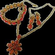 Joan Rivers Classics Autumn Gold & Orange Crystals Necklace Bracelet Earrings Set Parure
