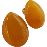 Russian Stamped 9ЯK Honey Butterscotch Baltic Amber Clip On Earrings Gold Fill Plated