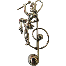 Vintage Lang Sterling Silver Large 3inch Music Clef Note Band & Majorette Baton March Brooch Pin