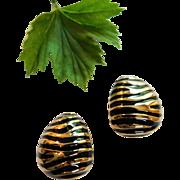 Joan Rivers Signed Safari Zebra Stripes Black Enamel & Gleaming Gold Clip On Earrings Animal Print