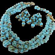 Signed Hattie Carnegie Triple Strand Necklace Choker & Cha Cha Earrings Murano Robin Egg Blue with Aventurine Art Glass Set