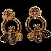 Avon Signed Sweet Bumble Bee & Flower Pink Crystal Rhinestone Doorknocker shape Post Earrings Honey Bee