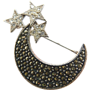 Celestial Moon & Trio of Stars Marcasite and Crystal Brooch Pin Stamped 925 Sterling Silver