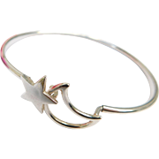 Moon & Star Celestial 925 Sterling Silver Bracelet Bangle Style