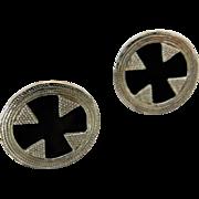 Sterling Silver Metropolitan Museum of Art Black Onyx Maltese Cross 925 Earrings Clip Ons 1995